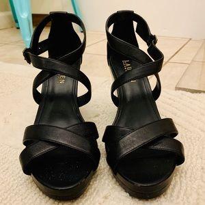 NWOT Ralph Lauren Black Strappy Sandal Wedges 8B